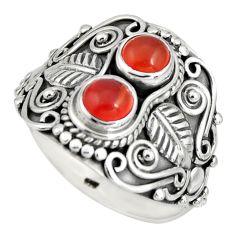 925 silver 1.84cts natural orange cornelian (carnelian) ring size 8 r10334