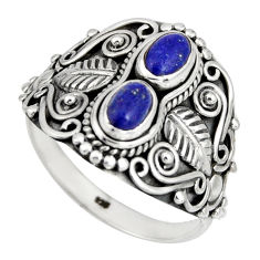 2.19cts natural blue lapis lazuli 925 sterling silver ring jewelry size 9 r10336