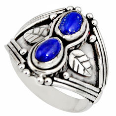 2.01cts natural blue lapis lazuli 925 sterling silver ring size 7.5 r10341