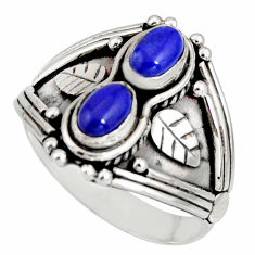 2.19cts natural blue lapis lazuli 925 sterling silver ring jewelry size 9 r10342