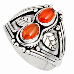2.76cts natural orange cornelian (carnelian) 925 silver ring size 7.5 r10348