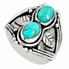 925 sterling silver 3.41cts blue arizona mohave turquoise ring size 7 r10349