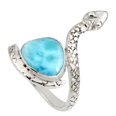 925 silver 4.22cts natural blue larimar solitaire snake ring size 7 r10353