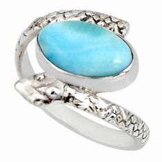 4.30cts natural blue larimar 925 silver solitaire snake ring size 9 r10357