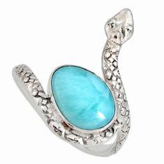 4.74cts natural blue larimar 925 silver solitaire snake ring size 9 r10358