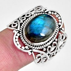 6.48cts natural blue labradorite 925 silver solitaire ring jewelry size 9 r10361