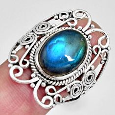 925 silver 6.89cts natural blue labradorite oval solitaire ring size 9.5 r10363