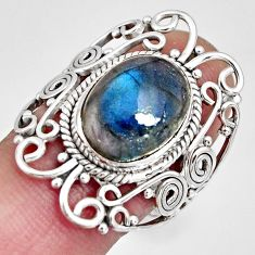 6.89cts natural blue labradorite 925 silver solitaire ring size 7.5 r10365
