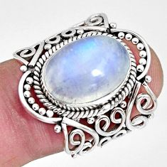 6.83cts natural rainbow moonstone 925 silver solitaire ring size 6 r10395
