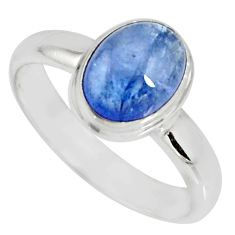 3.50cts natural blue tanzanite 925 silver solitaire ring jewelry size 7.5 r10402
