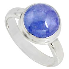 5.38cts natural blue tanzanite 925 silver solitaire ring jewelry size 7.5 r10405