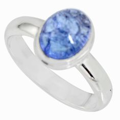 3.32cts natural blue tanzanite 925 silver solitaire ring jewelry size 7.5 r10407
