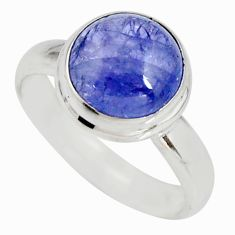 5.10cts natural blue tanzanite 925 silver solitaire ring jewelry size 7.5 r10408