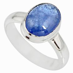 3.51cts natural blue tanzanite 925 silver solitaire ring jewelry size 5.5 r10410