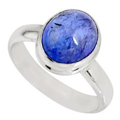 4.29cts natural blue tanzanite 925 silver solitaire ring jewelry size 7.5 r10413