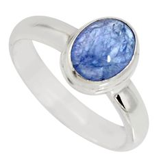 2.09cts natural blue tanzanite 925 silver solitaire ring jewelry size 7 r10414