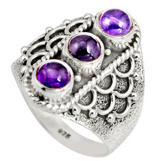 2.94cts natural purple amethyst 925 sterling silver ring jewelry size 7.5 r10422