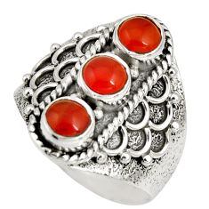 925 silver 2.94cts natural orange cornelian (carnelian) ring size 8.5 r10423