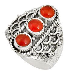 2.93cts natural orange cornelian (carnelian) 925 silver ring size 8 r10424