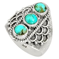 2.85cts green arizona mohave turquoise 925 sterling silver ring size 7.5 r10427