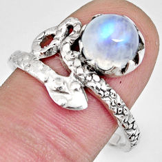 3.48cts natural rainbow moonstone 925 sterling silver snake ring size 10 r10442