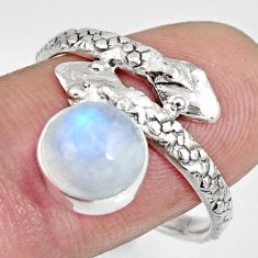 925 sterling silver 3.50cts natural rainbow moonstone snake ring size 9 r10443