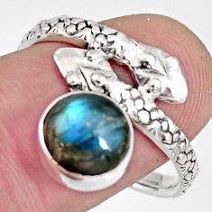 3.26cts natural blue labradorite 925 sterling silver snake ring size 8.5 r10480