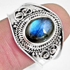 4.22cts natural blue labradorite 925 silver solitaire ring jewelry size 9 r10481