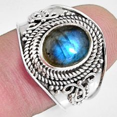 4.02cts natural blue labradorite 925 silver solitaire ring size 8.5 r10482