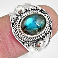 925 silver 4.17cts natural blue labradorite solitaire ring jewelry size 7 r10484