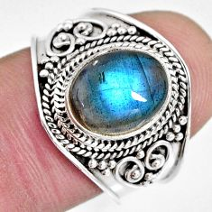 4.02cts natural blue labradorite 925 silver solitaire ring jewelry size 7 r10485