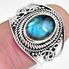 925 silver 4.02cts natural blue labradorite oval solitaire ring size 7.5 r10486