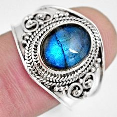 4.03cts natural blue labradorite 925 silver solitaire ring jewelry size 8 r10487