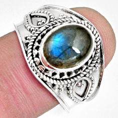 4.03cts natural blue labradorite 925 silver solitaire ring jewelry size 9 r10489