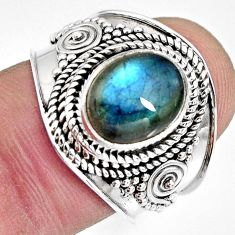 4.40cts natural blue labradorite 925 silver solitaire ring jewelry size 7 r10490