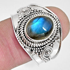 4.21cts natural blue labradorite 925 silver solitaire ring jewelry size 9 r10493