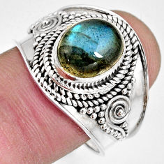4.02cts natural blue labradorite 925 silver solitaire ring jewelry size 9 r10498