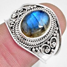 4.03cts natural blue labradorite 925 silver solitaire ring size 7.5 r10499