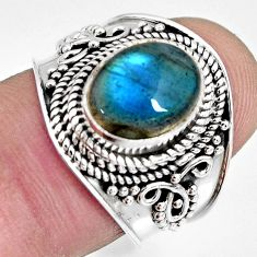 925 silver 4.40cts natural blue labradorite solitaire ring jewelry size 7 r10500