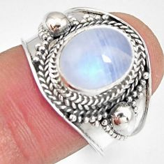 4.22cts natural rainbow moonstone 925 silver solitaire ring size 7.5 r10501