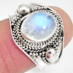 4.17cts natural rainbow moonstone 925 silver solitaire ring size 7.5 r10503