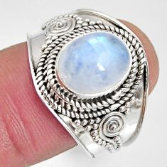 925 silver 4.21cts natural rainbow moonstone oval solitaire ring size 9 r10504