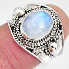 4.22cts natural rainbow moonstone 925 silver solitaire ring size 7 r10505