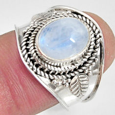 925 silver 4.22cts natural rainbow moonstone oval solitaire ring size 7.5 r10506