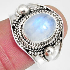 4.22cts natural rainbow moonstone 925 silver solitaire ring size 7.5 r10507