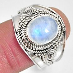 4.02cts natural rainbow moonstone 925 silver solitaire ring size 8.5 r10508