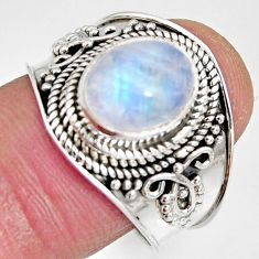 4.02cts natural rainbow moonstone 925 silver solitaire ring size 9 r10514