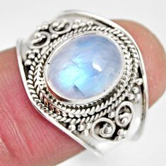 4.00cts natural rainbow moonstone 925 silver solitaire ring size 7.5 r10518