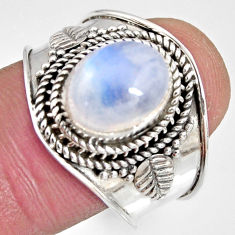 4.02cts natural rainbow moonstone 925 silver solitaire ring size 9 r10519