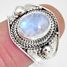 925 silver 4.19cts natural rainbow moonstone oval solitaire ring size 7 r10520